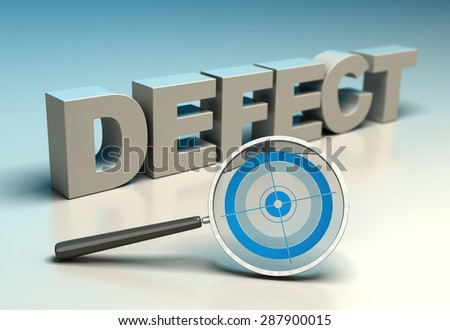 Word defect with magnifier and target. Concept of zero defects or tqm - stock photo
