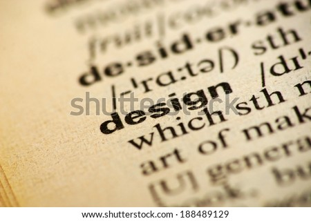 Word design in a dictionary - stock photo