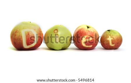 Word DIET cut out in 4 apples