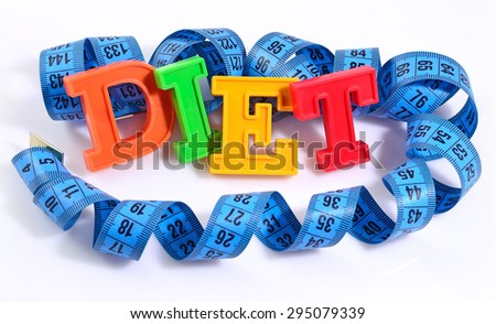 Word Diet written by colorful letters with blue measuring tape on white background