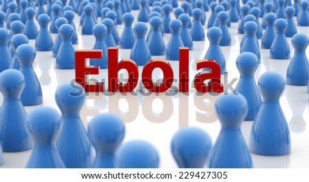 word ebola in a crowd of blue pawns - stock photo