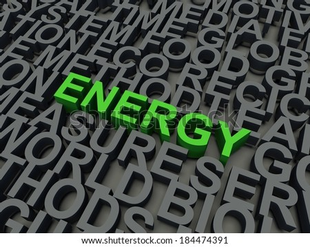 Word Energy in green, salient among other keywords concept in grey. 3d render illustration. - stock photo