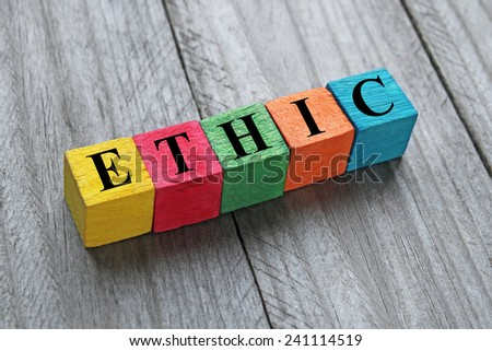 word ethic on colorful wooden cubes - stock photo