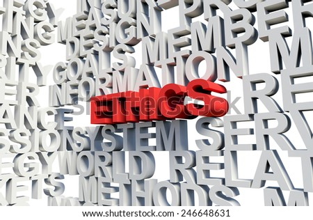 Word Ethics in red, salient among other related keywords concept in white. 3d render illustration. - stock photo