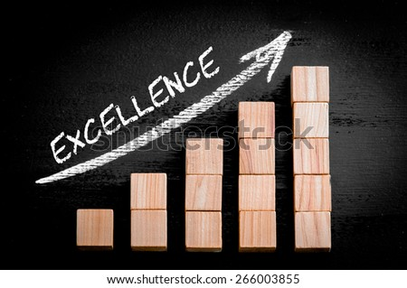 Word Excellence on ascending arrow above bar graph of Wooden small cubes isolated on black background. Chalk drawing on blackboard. Business Concept image. - stock photo