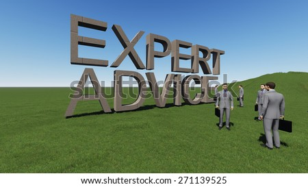 word  expert advice  3d  high rendered in grass - stock photo