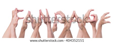 word fanpage builded with lot of hands, isolated in front of white