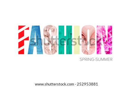 "word ""fashion"" - a concept fabric texture - stock photo"