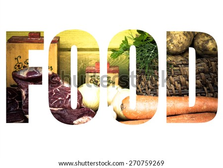 Word FOOD over raw meat, potato, onion, garlic, carrot and dill on wooden table. Toned. - stock photo