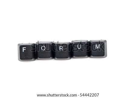 Word forum composed with black letters of computer keyboard isolated on white background ,copy space for text message