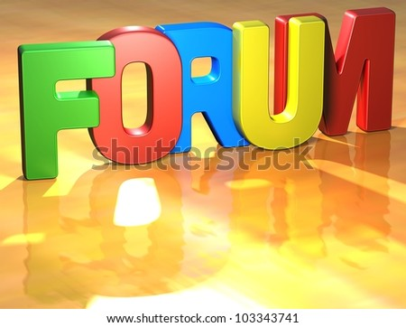 Word Forum on yellow background (higj resolution 3D image)