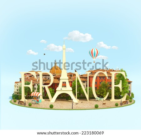 Word France on the square with old buildings of European city. Unusual traveling concept - stock photo