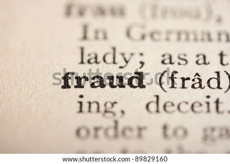 Word fraud from the old dictionary, a close up. - stock photo