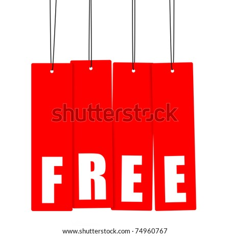 Word FREE on red hanging tags, clipping paths included. - stock photo