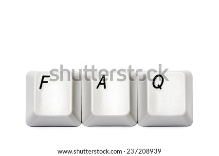 Word from computer keyboard buttons FAQ isolated on white background