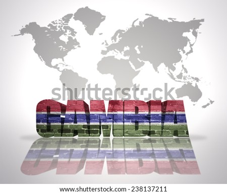 Word Gambia with Gambia Flag on a world map background - stock photo