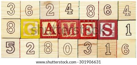 """Word """"GAMES"""" from alphabet wooden blocks - stock photo"""