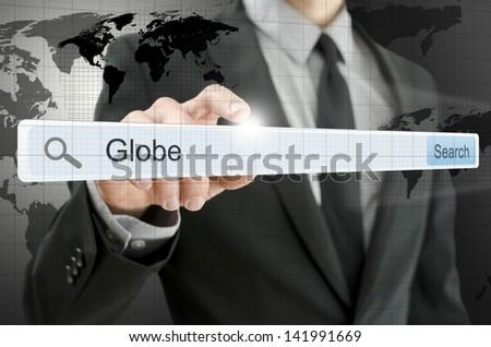 Word Globe written in search bar on virtual screen. - stock photo