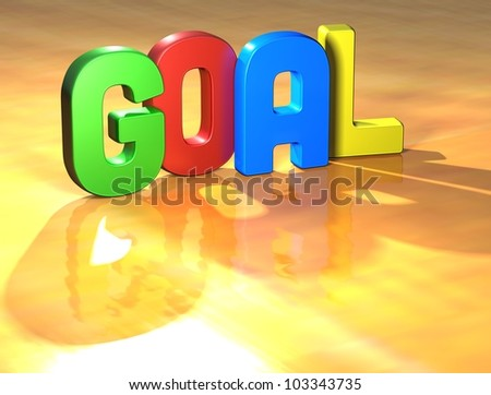 Word Goal on yellow background (higj resolution 3D image)