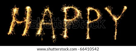 Word  HAPPY made of sparkler (you can see other words in my portfolio) - stock photo