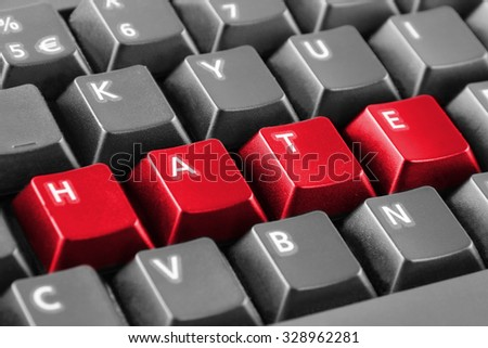 Word hate written with red keyboard buttons - stock photo