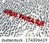 Word Healthcare in red, salient among other related keywords concept in white. 3d render illustration. - stock