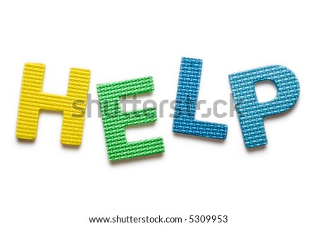 Word HELP isolated on the white background - stock photo