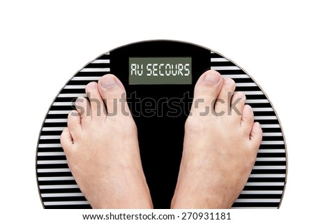 Word Help written in French (au secours) on a weight scale with feet isolated on white background - stock photo