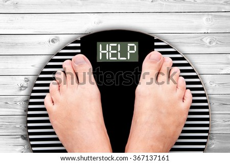 Word Help written on a weight scale - stock photo
