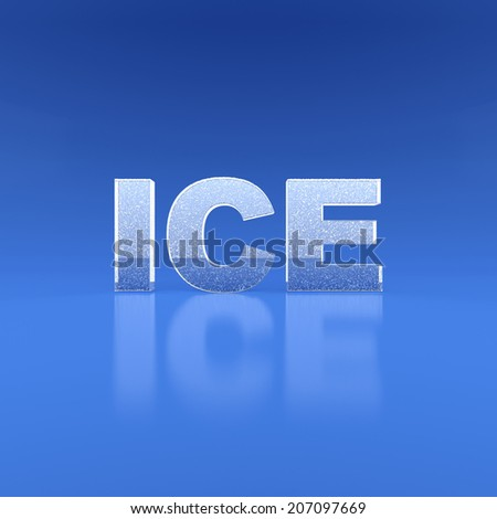 word Ice on blue background. 3d render illustration - stock photo