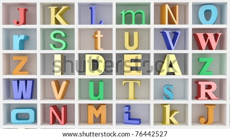 Word idea and letters on white isolated background. 3d