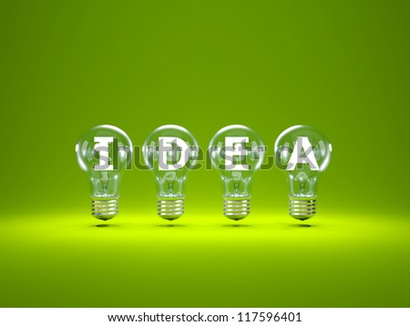 Word idea inside light bulbs on green background