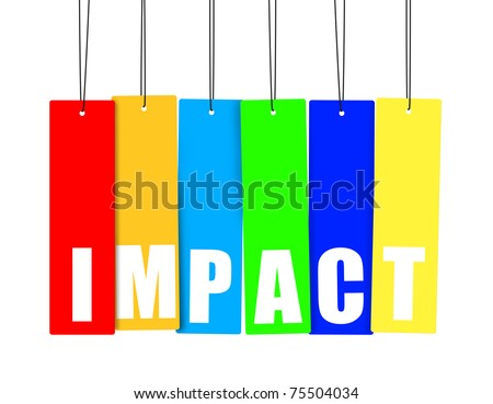 Word IMPACT in colorful hanging tags, clipping paths included. - stock photo