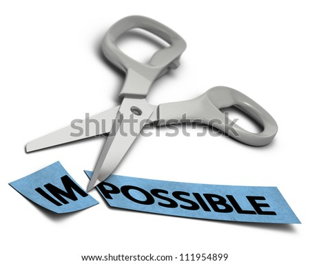 word impossible cut in two parts im and possible. Scissors at the background over white - stock photo