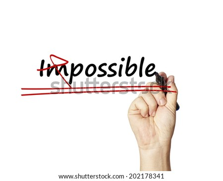 word Impossible into Possible - stock photo