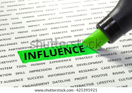 Word Influence highlighted with marker on paper of other related words.business success concept. - stock photo