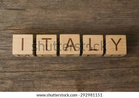 word italy on wooden cubes - stock photo