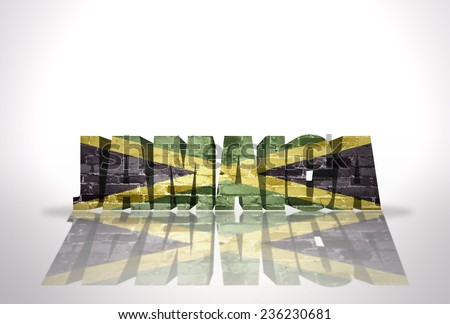 Word Jamaica with National Flag on the white background - stock photo