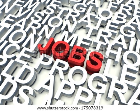 Word Jobs in red, salient among other related keywords concept in white. 3d render illustration.