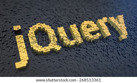 Word 'jQuery' of the yellow square pixels on a black matrix background. Javascript library concept. - stock photo