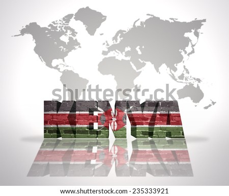 Word Kenya with Kenyan Flag on a world map background - stock photo