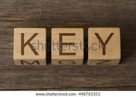 word KEY on wooden cubes - stock photo