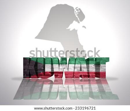 Word Kuwait with National Flag near map of Kuwait - stock photo