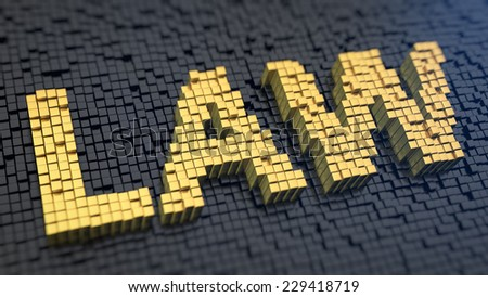 Word 'Law' of the yellow square pixels on a black matrix background. Legal concept. - stock photo