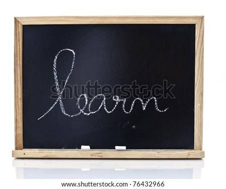 Word learn handwriting on a blackboard in white background