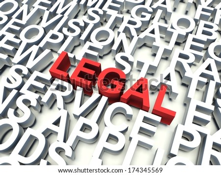 Word Legal in red, salient among other keywords concept in white. 3d render illustration.