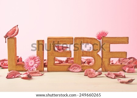 Word Liebe meaning Love in German language as a composition of wooden block letters covered with the dried flower potpourri leaves against the pink background - stock photo