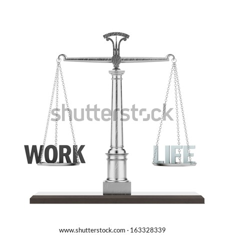 word life and work on scale - stock photo
