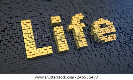 Word 'Life' of the yellow square pixels on a black matrix backgroun. Digital life concept. - stock photo