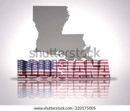 Word Louisiana with National Flag of USA near map State - stock photo